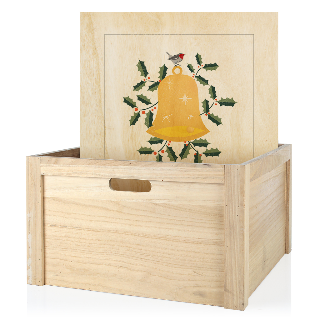 Wooden Box with Printed Lid