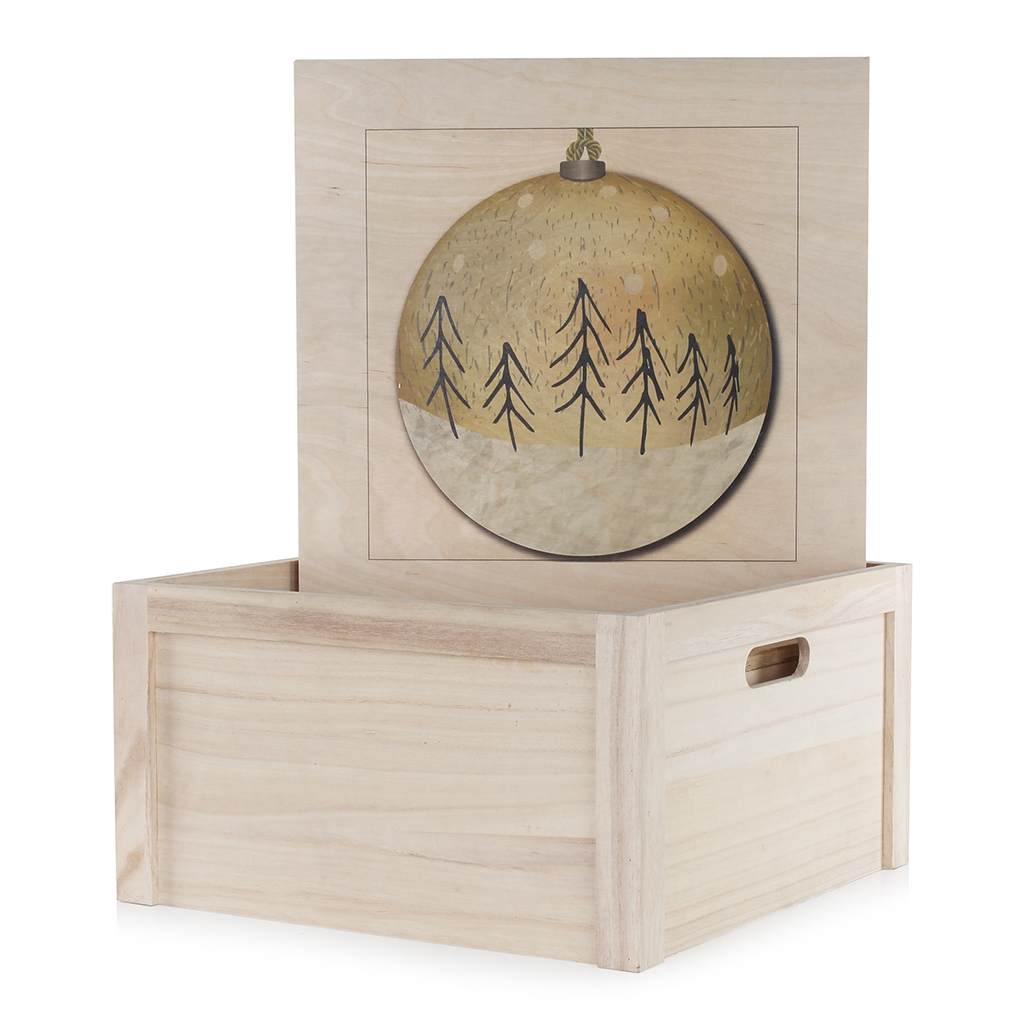 Medium Wooden Box with Printed Design