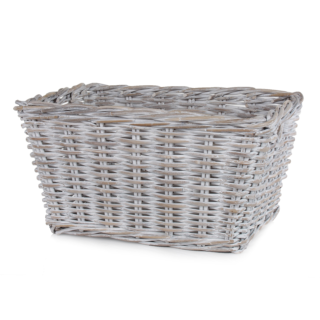 Whitewash Kubu Storage Basket