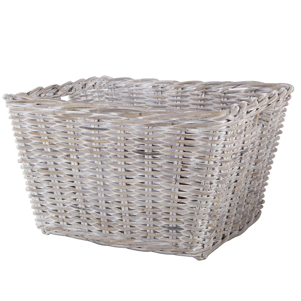 Large Tapered Whitewash Kubu Storage Basket