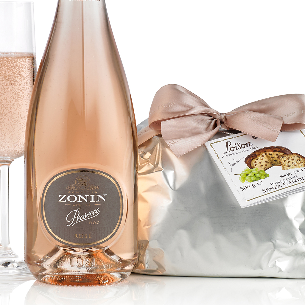 Pink Prosecco and Panettone Gift