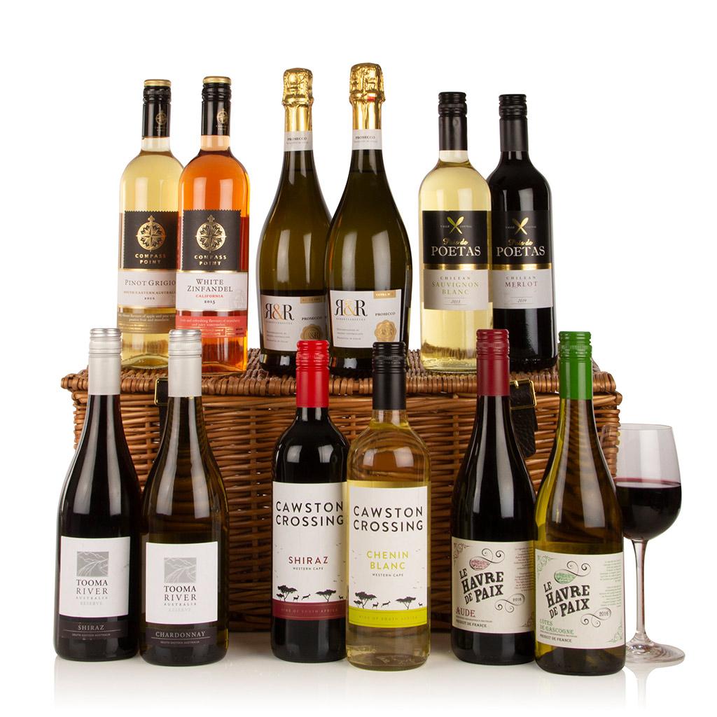 Twelve Wines in Wicker